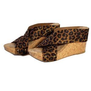 Lucky Brand Miller Leopard Platform Wedges 7.5